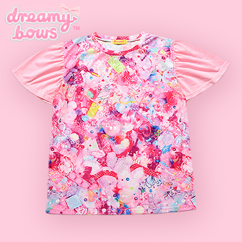 Clione Frill Sleeve Girls Daydream Tee - Pink