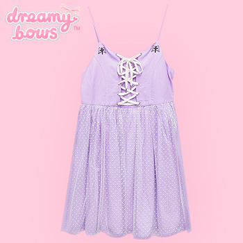 Angel Cross Lace Up Tulle Dress - Lavender