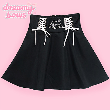 Angel Heart Lace-Up Skirt - Black