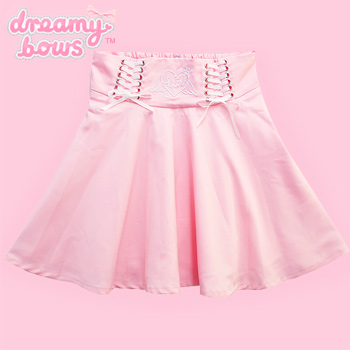 Angel Heart Lace-Up Skirt - Pink
