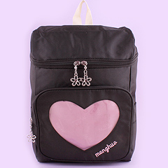 59de33073f1d Backpack with Transparent Heart Pocket - Black. by Dreamy Bows
