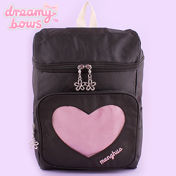 Backpack with Transparent Heart Pocket - Black