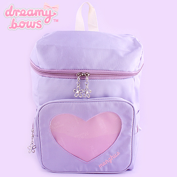 Backpack with Transparent Heart Pocket - Lav