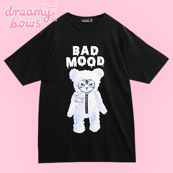 Bad Mood Cat Bear Big T-Shirt - Black