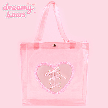 Transparent Tote Bag with Heart Lacing - Pink Glitter