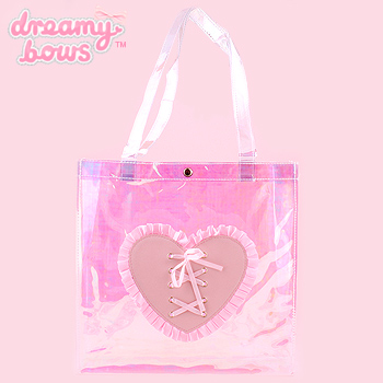 Transparent Tote Bag with Heart Lacing - Holographic