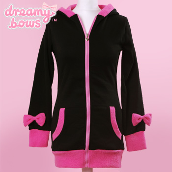Bunny Ear Bow Jacket - Black x Pink