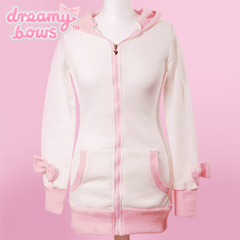 Bunny Ear Bow Jacket - White x Pink