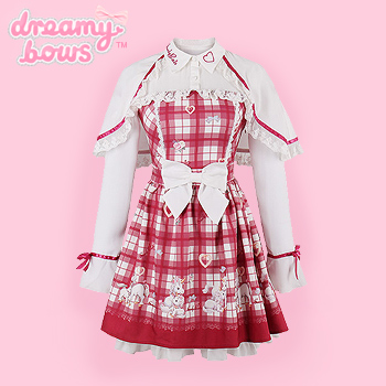 Red Checked Dress with Unicorn Print & Cape