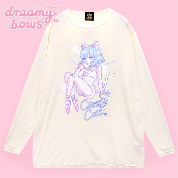 Candy Cat Girl Oversized Cutsew - Off-White