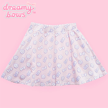 Candy & Gummy Bear Print Skirt - Pink