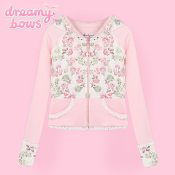 Pink Floral & Lace Short Hooded Jacket