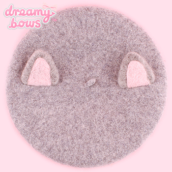 Kawaii Cat Ear Beret - Grey
