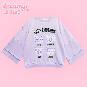Cat&#39s Emotions Bell Sleeve Sweatshirt - Lav