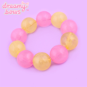 Chunky Candy Drop Bead Bracelet - Yellow x Pink