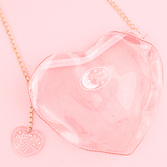 8126407988dd Clear Heart Shaped Shoulder Bag with Chain - Pink Glitter