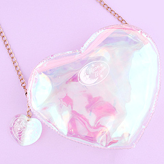 533419d8c9ca Clear Heart Shaped Shoulder Bag with Chain - Holographic