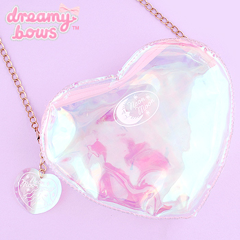 Clear Heart Shaped Shoulder Bag with Chain - Holographic