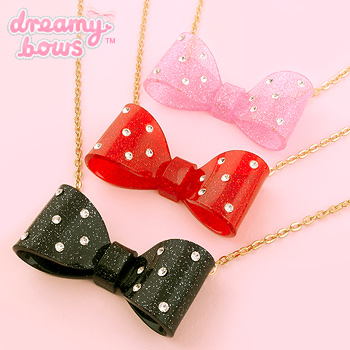 Plastic Diamante Bow Necklace