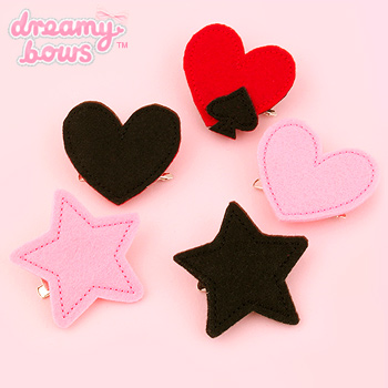 Felt Hearts & Stars Single 2-Way Clip