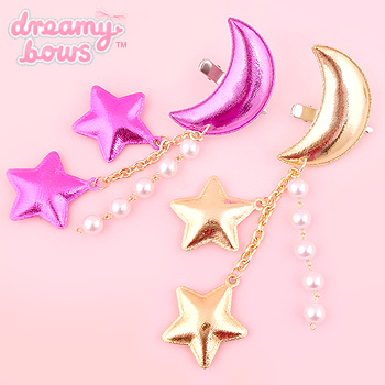 Metallic Moon Stars Dangly 2-Way Clip