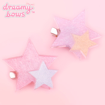 Glitter Plastic Double Star 2-Way Clip
