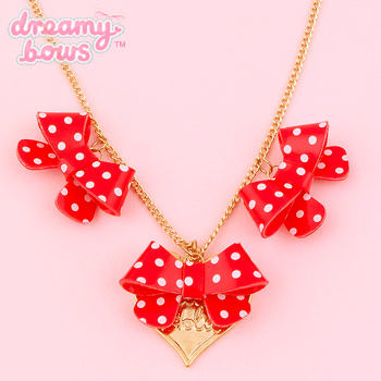 Ribbonholic Triple Dotty Bow Necklace