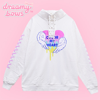 Color My Heart Lace Up Collar Sweater - White