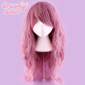 Long Crimped Gradient Wig - Taro to Pink