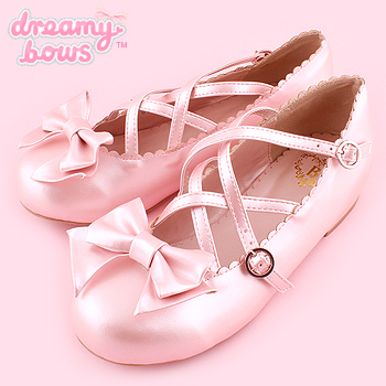 Flat Cross Strap Tea Party Shoes - Pink