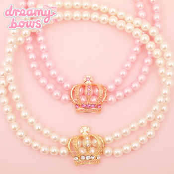 Princess Crown Double Pearl Choker