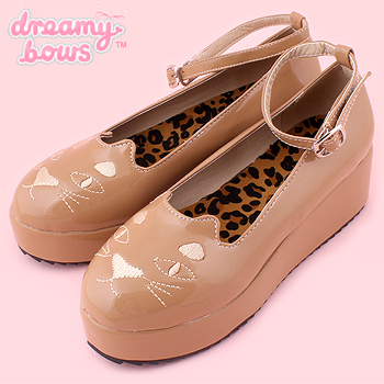 High Gloss Cat Face Low Platform Shoes - Beige