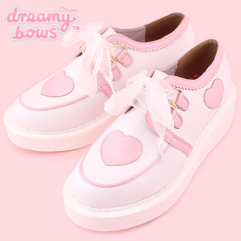 Heart Lace-Up Creeper Shoes - White