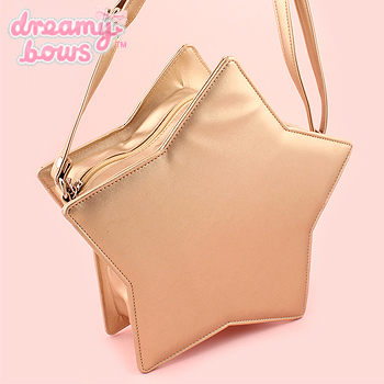 Faux Leather Padded Star Bag - Gold