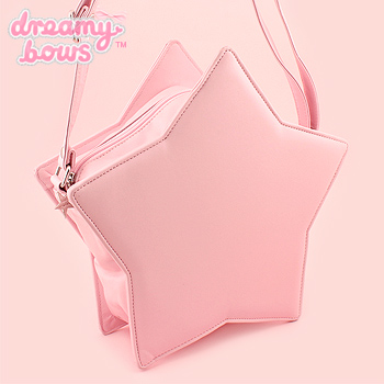 Faux Leather Padded Star Bag - Pink