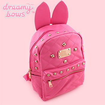Studded Bunny Backpack With Ears - Hot Pink