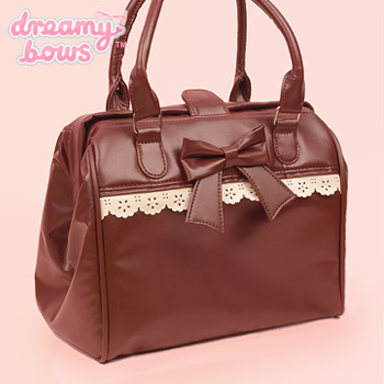 Dual Strap Lace Boston Bag - Brown
