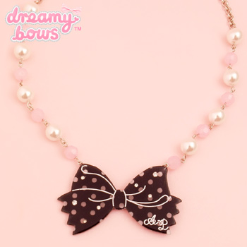Dot Cute Ribbon Necklace - Black