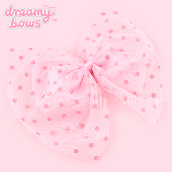 Dotty Tulle Overlay Bow 2-Way Clip - Pink