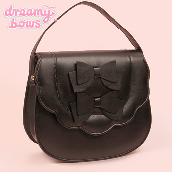 Scallop Double Bow Multi Strap Bag - Black