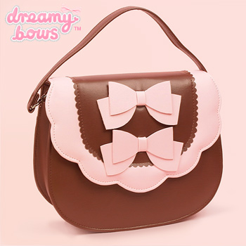 Double Bow Multi Strap Bag - Brown x Pink