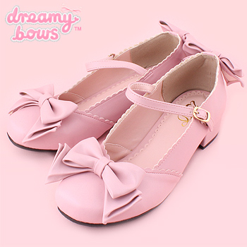 Single Strap Tea Party Bow Shoes - Pink