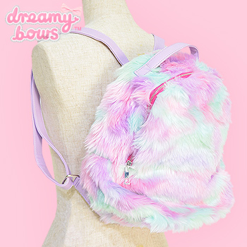 Eco Fur Fluffy Backpack - Pinky Pastel