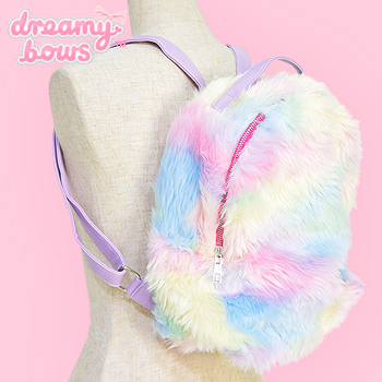 Eco Fur Fluffy Backpack - Yellow Pastels