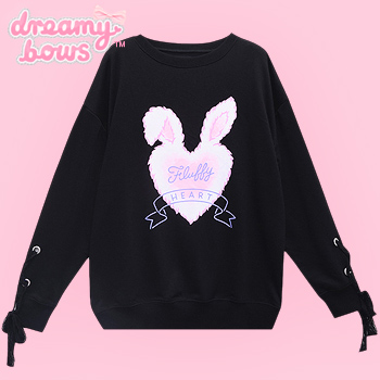 Fluffy Heart Lace-Up Sleeve Sweater - Black