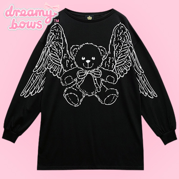 Flying Teddy Bear Wing Sleeve Sweater - Black