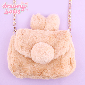Furry Bunny Ear Chain Shoulder Bag - Brown