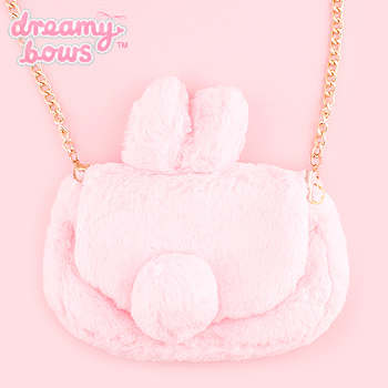 Furry Bunny Ear Chain Shoulder Bag - Pink