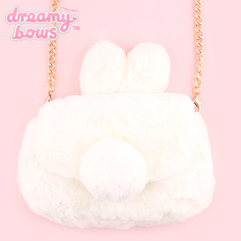 Furry Bunny Chain Shoulder Bag - White