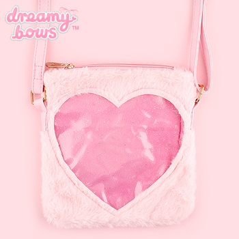 Fluffy Fur Heart Window Small Shoulder Bag - Pink